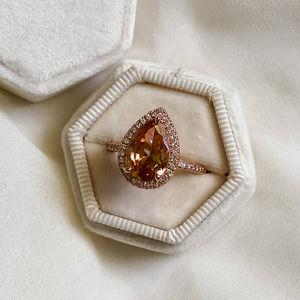 Rose Gold Morganite Pear Diamond Ring